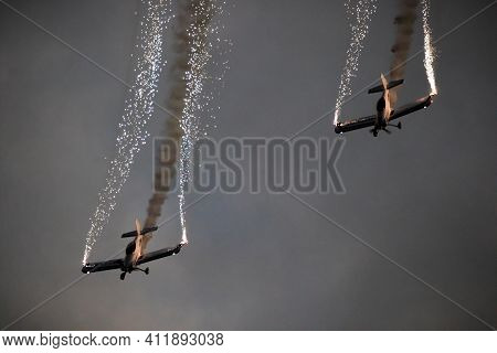 Sanicole, Belgium - Sep 13, 2019: Fireflies Aerobatic Display Team Performing At The Sanice Sunset A