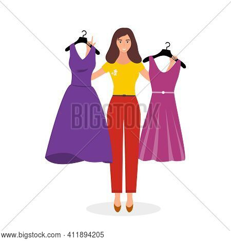 Girl Trying On Dress In Clothing Store. Shopping. Woman Buys A Fashionable, Beautiful Dress. Isolate