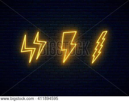 Neon Lightning Bolt Set. High-voltage Thunderbolt Neon Symbol. Three Lightning, Thunder And Electric