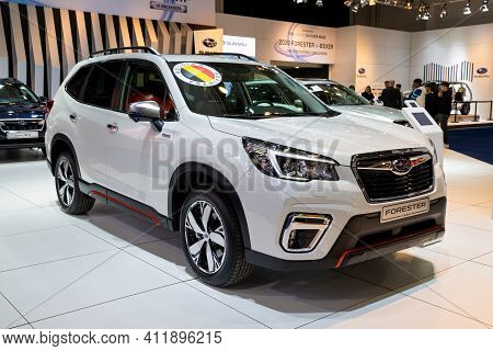 Brussels - Jan 9, 2020: New Subaru Forester Car Model Showcased At The Brussels Autosalon 2020 Motor