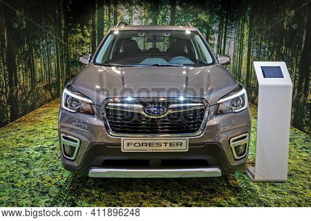 Brussels - Jan 9, 2020: Subaru Forester Car Showcased At The Brussels Autosalon 2020 Motor Show.