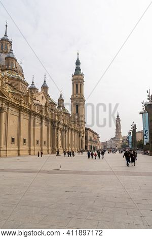 View Of The Plaza Of Our Lady Of The Pillar And The Cathedral In The Old City Center Of Zaragoza