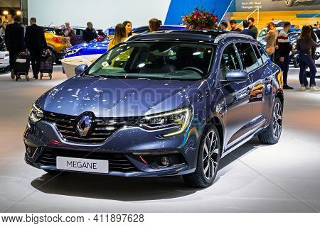 Brussels - Jan 9, 2020: New Renault Megane Car Model Presented At The Brussels Autosalon 2020 Motor