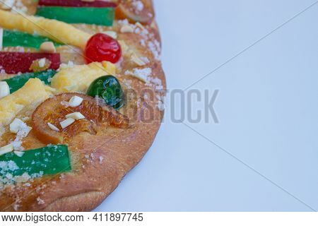 Closed Shot Of Coca De Sant Joan, A Sweet Cake Typical Of Catalonia, Spain. Selective Focus. Concept
