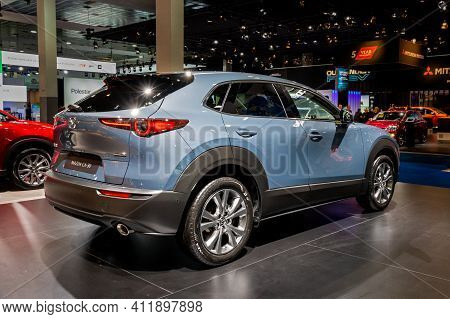 Brussels - Jan 9, 2020: New Mazda Mx-30 Car Model Showcased At The Brussels Autosalon 2020 Motor Sho