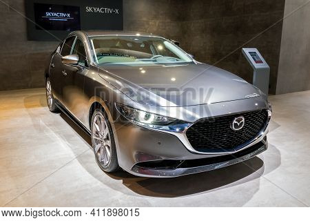 Brussels - Jan 9, 2020: New Mazda 3 Car Model Presented At The Brussels Autosalon 2020 Motor Show.