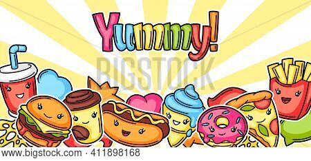 Background With Cute Kawaii Fast Food Meal. Tasty Funny Characters Of Fastfood.