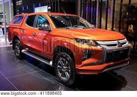 Brussels - Jan 9, 2020: New Mitsubishi L200 Pickup Truck Model Showcased At The Brussels Autosalon 2