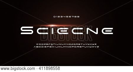 Space Stunning Font For Futuristic Logo And Science Technology Text. Wide Rounded Letters. Techno Al