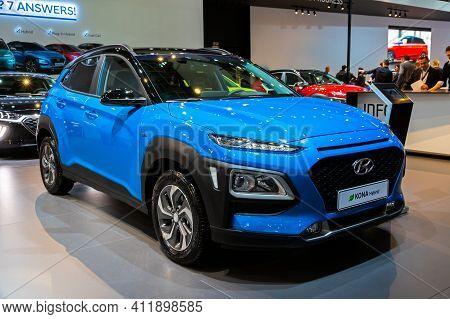 Brussels - Jan 9, 2020: New Hyundai Kona Hybrid Car Model Showcased At The Brussels Autosalon 2020 M