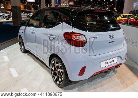 Brussels - Jan 9, 2020: New Hyundai I10 N-line Car Model Showcased At The Brussels Autosalon 2020 Mo