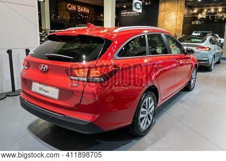 Brussels - Jan 9, 2020: New Hyundai I30 Wagon Car Model Showcased At The Brussels Autosalon 2020 Mot