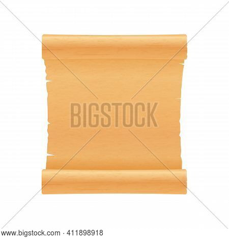 Scroll Of Ancient Parchment Or Papyrus, Realistic Vector Illustration Isolated.