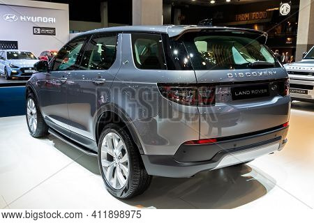 Brussels - Jan 9, 2020: New Land Rover Discovery Sport 2.0 P200 Car Model Showcased At The Brussels
