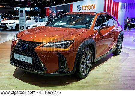 Brussels - Jan 9, 2020: Lexus Ux 250h Hybrid Compact Suv Car Model Showcased At The Brussels Autosal