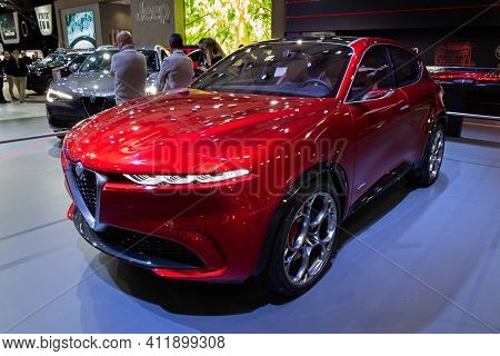 Brussels - Jan 9, 2020: Alfa Romeo Tonale Concept Car Model Showcased At The Brussels Autosalon 2020