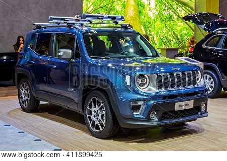 Brussels - Jan 9, 2020: New Jeep Renegade Compact Suv Car Model Showcased At The Brussels Autosalon