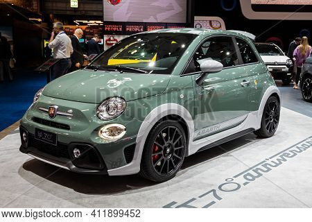 Brussels - Jan 9, 2020: Abarth 695 70th Anniversary Sports Car Model Showcased At The Brussels Autos