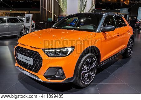 Brussels - Jan 9, 2020: Audi A1 Citycarver Car Presented At The Brussels Autosalon 2020 Motor Show.