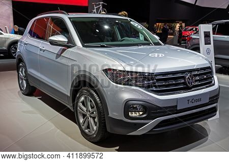 Brussels - Jan 9, 2020: New Volkswagen T-cross Car Model Showcased At The Brussels Autosalon 2020 Mo