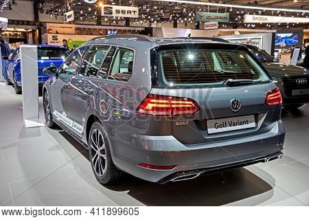 Brussels - Jan 9, 2020: New Volkswagen Golf Variant Car Model Showcased At The Brussels Autosalon 20