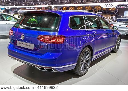 Brussels - Jan 9, 2020: New Volkswagen Passat Variant Car Model Showcased At The Brussels Autosalon