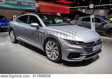 Brussels - Jan 9, 2020: New Volkswagen Arteon Car Model Showcased At The Brussels Autosalon 2020 Mot