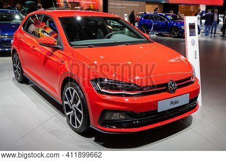 Brussels - Jan 9, 2020: New Volkswagen Polo Gti Car Model Showcased At The Brussels Autosalon 2020 M