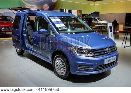 Brussels - Jan 9, 2020: New Volkswagen Caddy Maxi Kombi Van Model Showcased At The Brussels Autosalo