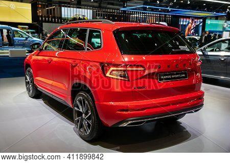 Brussels - Jan 9, 2020: New Skoda Karoq Sportline Car Model Showcased At The Brussels Autosalon 2020