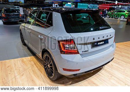 Brussels - Jan 9, 2020: New Skoda Fabia Car Model Showcased At The Brussels Autosalon 2020 Motor Sho