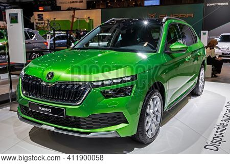 Brussels - Jan 9, 2020: New Skoda Kamiq Compact Suv Car Model Showcased At The Brussels Autosalon 20