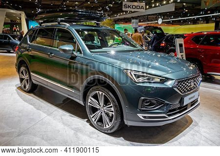 Brussels - Jan 9, 2020: New Seat Tarraco Car Model Showcased At The Brussels Autosalon 2020 Motor Sh