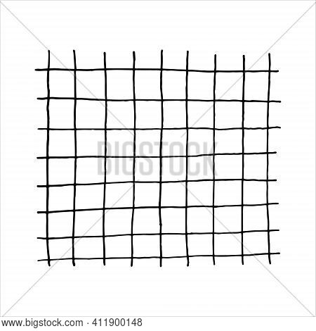 Vector Outline Of Notebook Cells Isolated On White Background, Drawn By Hand With Pen And Ink, Can B