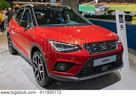Brussels - Jan 9, 2020: New Seat Arona Car Model Showcased At The Brussels Autosalon 2020 Motor Show