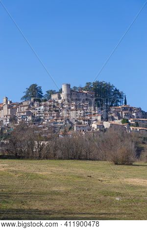 The Old Village Of Orvinio In The Province Of Rieti With Its Castle.