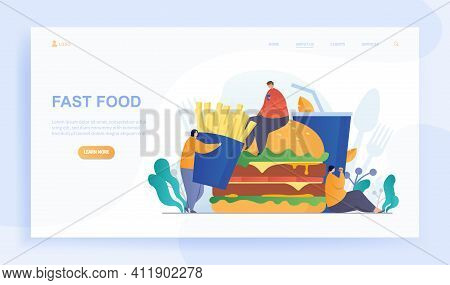 Male And Female Characters Are Eating Fast Food. Group Of People Suffering From Bulemia Eating Burge