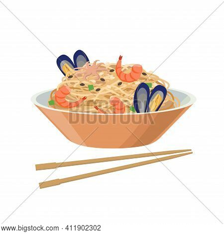 Soy Noodles With Seafood, Mussels Ans Shrimps. Soybean Product - Vector Illustration Isolated On Whi