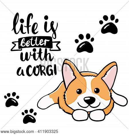 Corgi Dog Cute Welsh Corgi Vector Cartoon Illustration Isolated On White Background. Funny Corgi But
