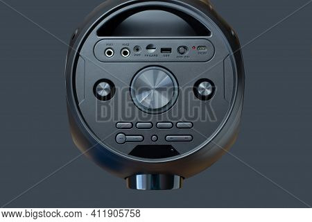 Sound Speakers.black Music Subwoofer, Volume Control More And Less. Aux, Mic Vol, Play, Stop, Fm. Ho