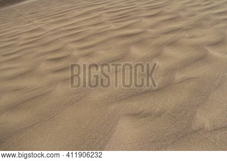 Beautiful Sandy Waves Of The Singing Dune In Altyn-emel, Waves Diagonally From Left To Right Upwards