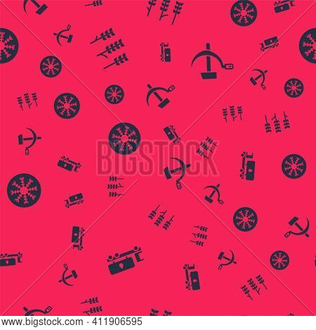 Set Tanker Truck, Wheat, Snowflake And Hammer And Sickle Ussr On Seamless Pattern. Vector