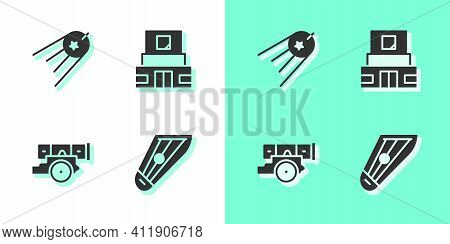 Set Kankles, Satellite, Cannon And Mausoleum Of Lenin Icon. Vector