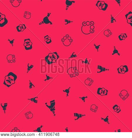 Set The Tsar Bell, Cockerel Lollipop, Joseph Stalin And Russian Bagels On Seamless Pattern. Vector