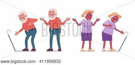 Old Man, Woman Elderly Person With Cane Having Heart Ache. Senior Citizens Over 65 Years, Retired Gr