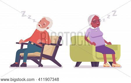 Old Man, Woman Elderly Person Resting, Sleeping In Armchair. Senior Citizens Over 65 Years, Retired