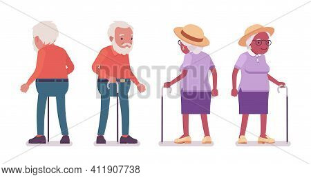 Old Man, Woman Elderly Person Standing With Walking Cane. Senior Citizens Over 65 Years, Retired Gra