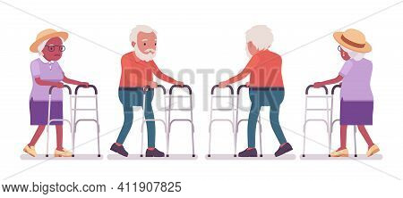 Old Man, Woman Elderly Person With Medical Walker. Senior Citizens Over 65 Years, Retired Grandparen