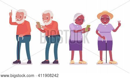 Old Man, Woman Elderly Person Using Mobile Phone. Senior Citizens Over 65 Years, Retired Grandparent