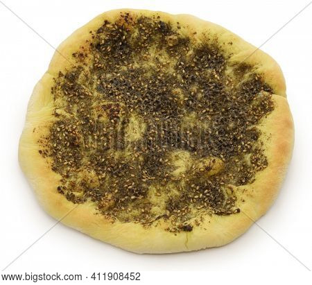 homemade zaatar manakeesh,  traditional lebanese herb-spiced pita bread